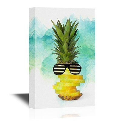 wall26 - Canvas Wall Art - Cool Pine Apple Wearing Sunglasses- 24x36 (Sunglasses Wall Art)