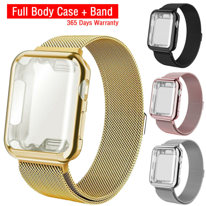 For Apple Watch 3/2/1 Steel Band Strap with Screen Protector Case iWatch 38/42mm