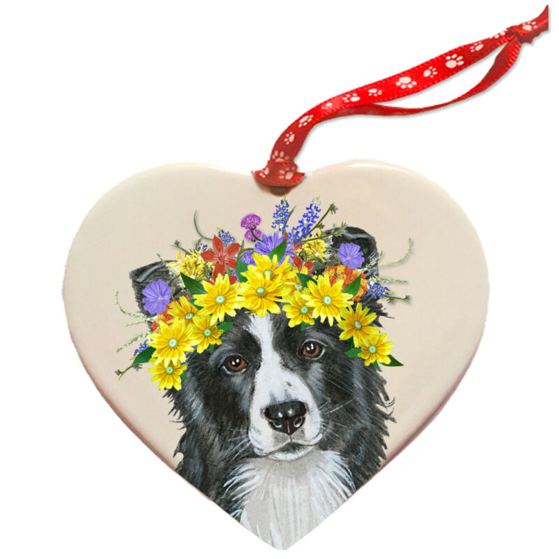 Border Collie Dog Porcelain Floral Heart Shaped Ornament Décor Pet Gift