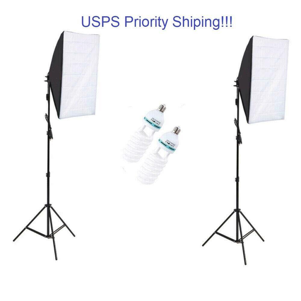 150W Studio Photography Softbox Continuous Photo Lighting Kit Light Bulb Bag 2X Cameras & Photo