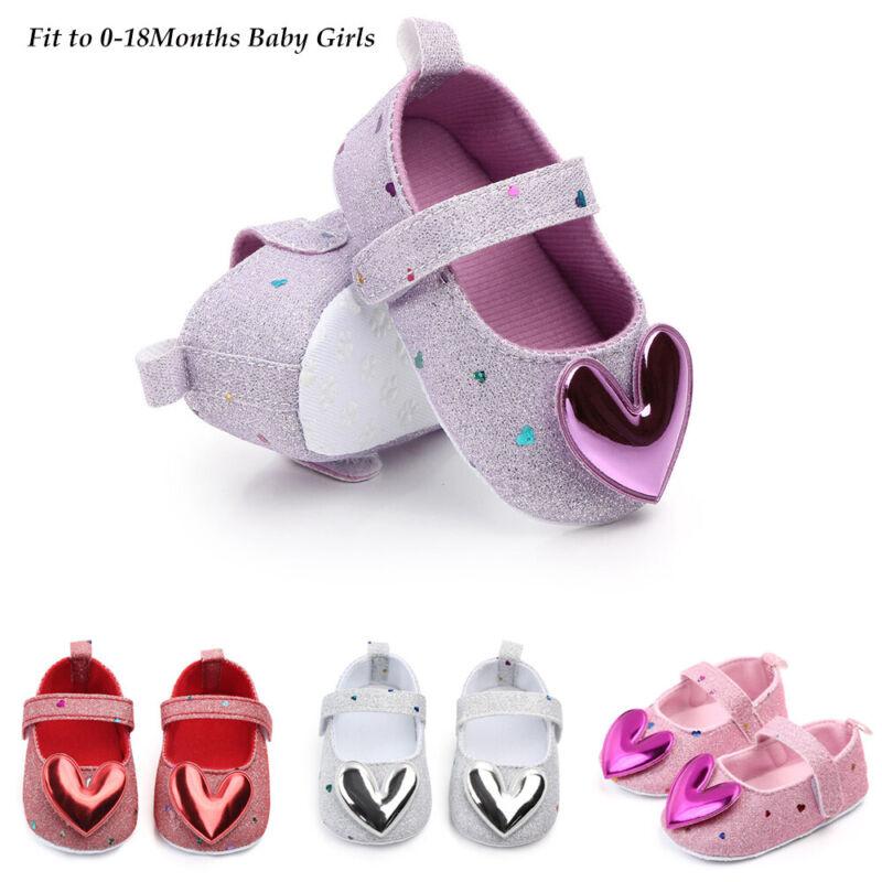 Infant Toddler Kids Girls Indoor Shoes Heart-Shaped Princess
