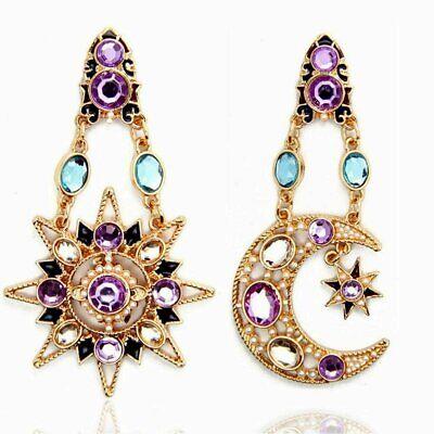 Betsey Johnson Celestial Bodies Rose Gold Tone Purple Aqua Crystal Earrings Gold Tone Purple Crystal