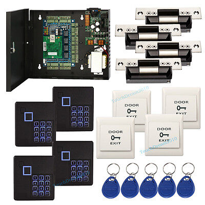 4 Door Access Control Panel System With Ansi Strike Lockkeypad Readerpower Box