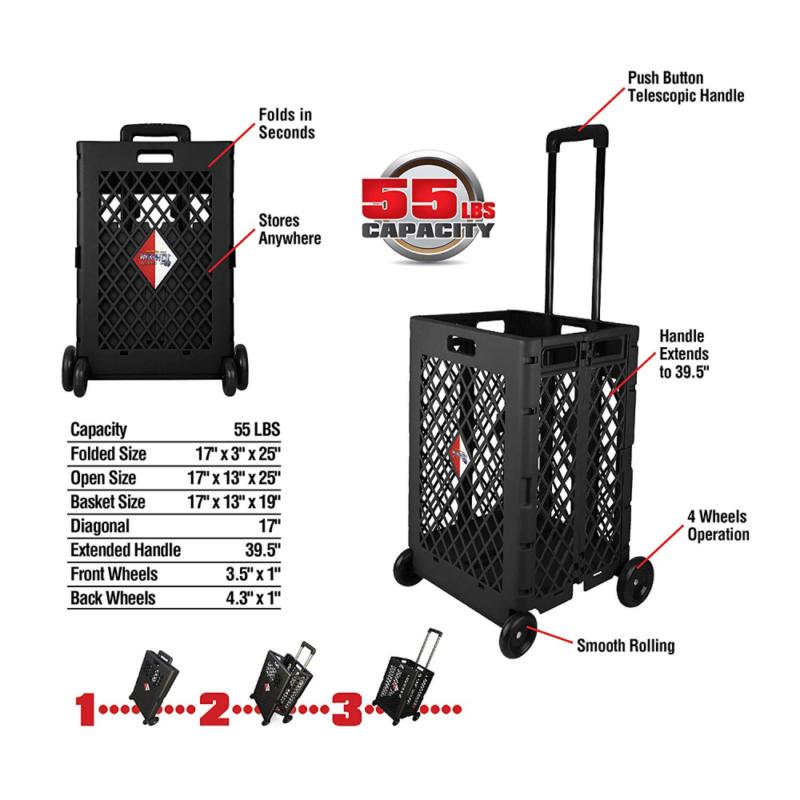Olympia Tools 85-404 Pack-N Mesh Rolling Cart, 55 Lb, Plasti