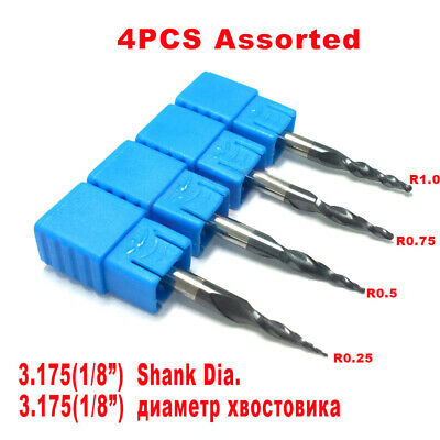 4pcs 0.25-1.0mm 18 Shank Hrc55 Carbide Tapered Ball Nose End Mill Set