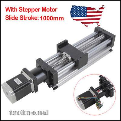 1000mm Ball Screw Linear Cnc Slide Stroke Long Stage Actuator Stepper Motor Usa