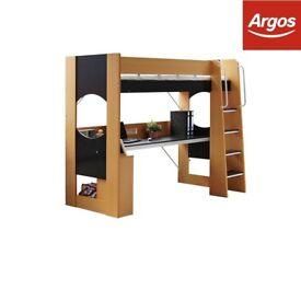 Argos High Sleeper with desk beech and black