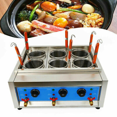 6kw Commercial Electric Pasta Cooker Noodle Food Cooking Machine 6 Holes Basket