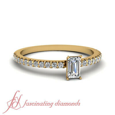 Affordable Engagement Ring 0.70 Ct Emerald Cut & Round Diamond In 14K Gold GIA