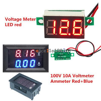 Red Led Voltage Meter Dc100v 10a Bluered Led Voltmeter Ammeter Amp Dual Digital