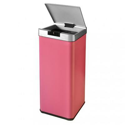 New 13-Gallon Trash can Automatic Sensor Garbage Bin Stainless Steel, Pink