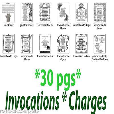 30 Pages Invocations Charges Spells Wicca Book of Shadows Parchment Prints Lot