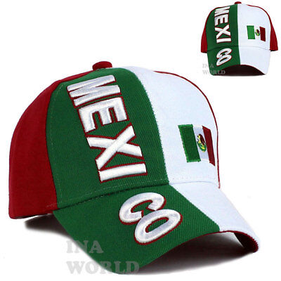 MEXICAN hat MEXICO Flag cap Embroidery Curved bill Baseball cap- Adjustable Size