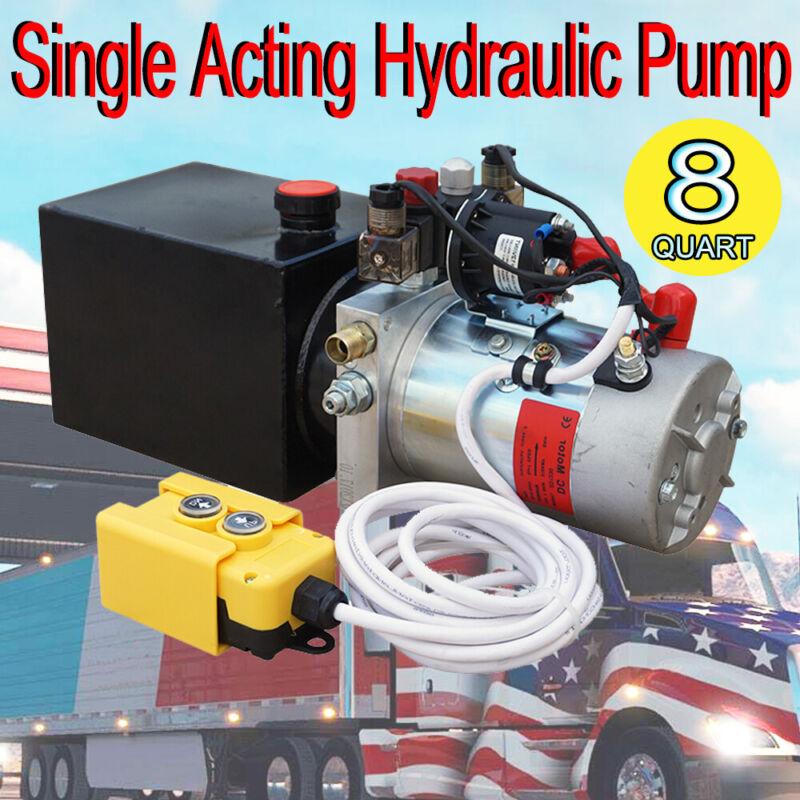 12V 8 Quart Hydraulic Trailer Pump Power Unit Single Acting 3200 PSI 2.0 GPM