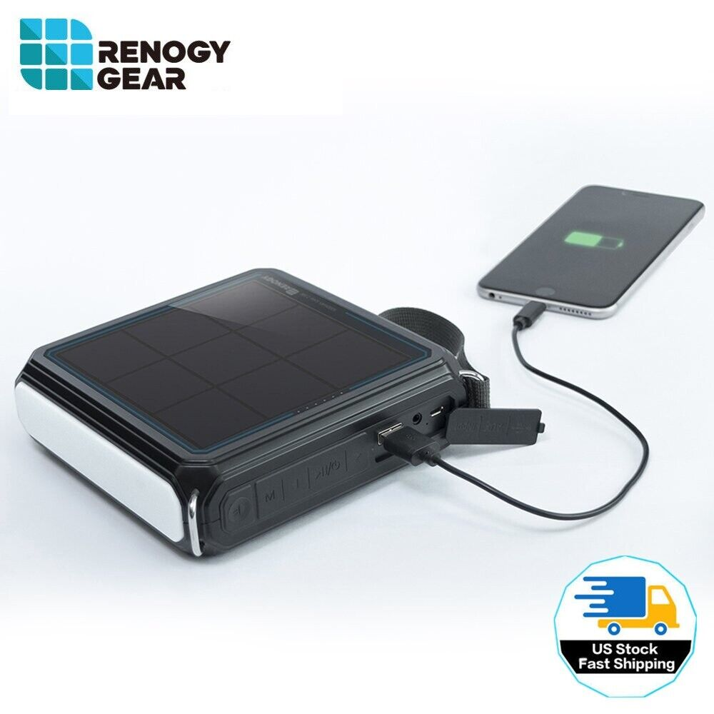 Renogy E.TUNES Solar Powered Bluetooth Speaker w/ 5000mAh Po