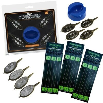 INLINE METHOD FEEDER AND MOULD SET FOR CARP FISHING + 18 HAIR RIGS