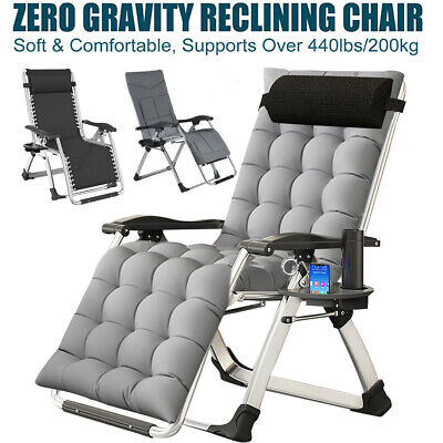 Foldable Zero Gravity Lounge Chair Ergonomic Patio Recliner with Removeable Pad