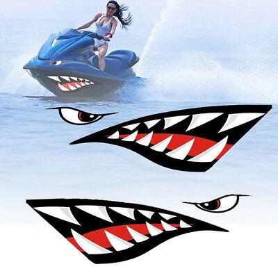 1 Pair Shark Teeth Mouth PET Decal Stickers For Kayak Canoe Dinghy Boat Cool segunda mano  Embacar hacia Argentina