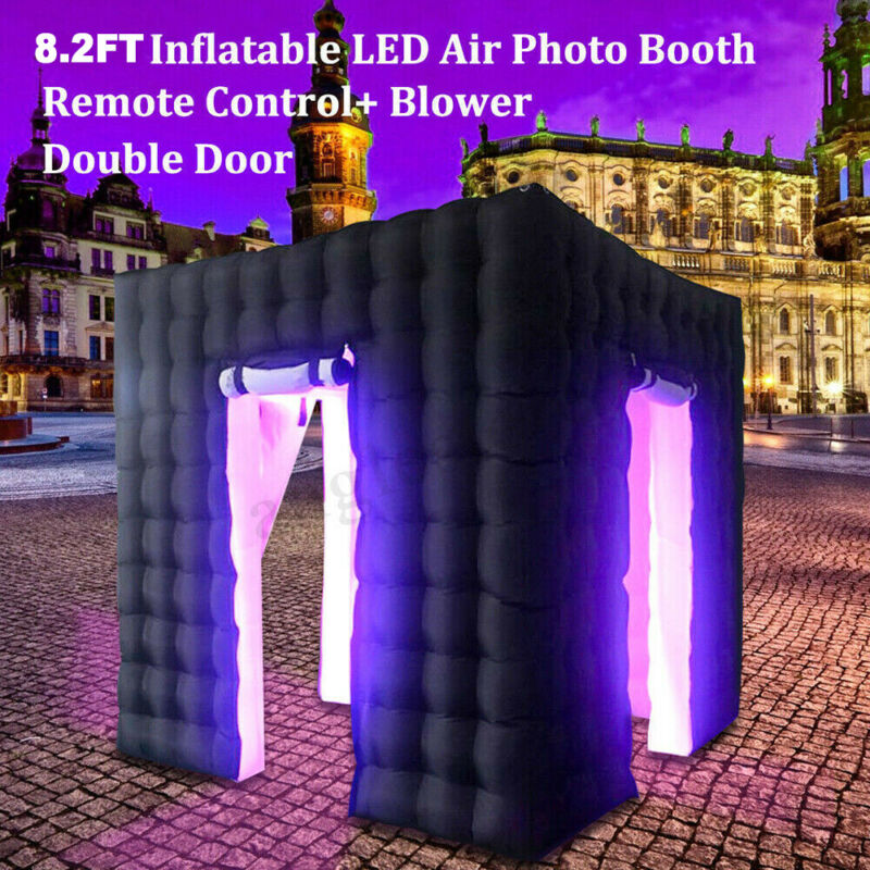 2.5M Inflatable Photo Booth LED Lighting Tent Air Pump 2 Doors+Remote Controller