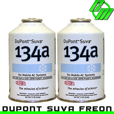 DuPont Suva R134a Automotive A/C Air Conditioning Refrigerant (2) 12 oz Can