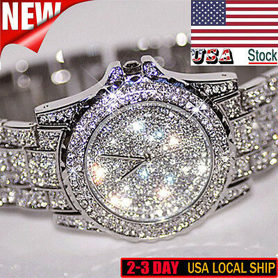 $18.76 - Luxury Womens Crystal Watches Fashion Stainless Steel Analog Quartz Dress Watch