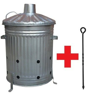 60L Galvanised Garden Incinerator Bin Fire Burning Leaves Paper Wood FREE POKER for sale  Shipping to Ireland