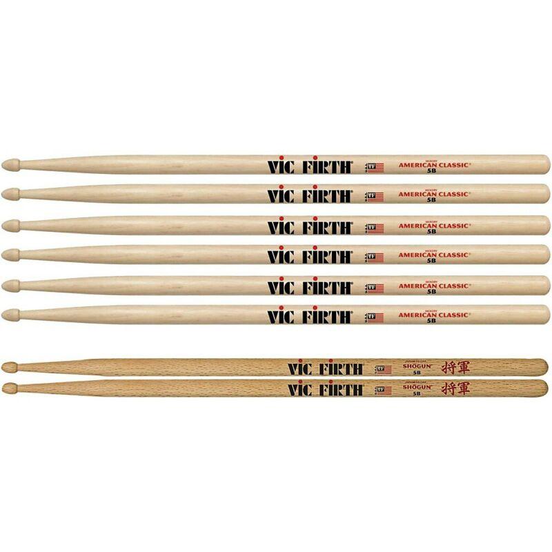 Vic Firth 3-Pair 5B Sticks with Free Pair Shogun 5B Oak Wood Tip