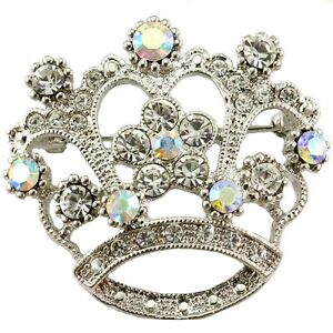 Princess-Crown-Tiara-Brooch-Pin-White-Clear-Stone-Crystal-Wedding-Bridal-Jewelry