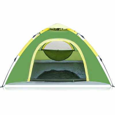 Waterproof 3-4 People Automatic Instant Pop Up Tent Green Camping Hiking Tent
