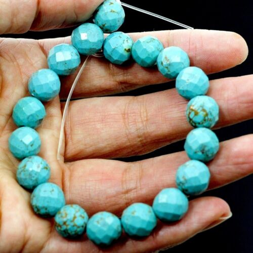 """Natural Genuine Turquoise Light Blue Kingman Faceted Round 10mm Beads 8""""(TU14)a"""