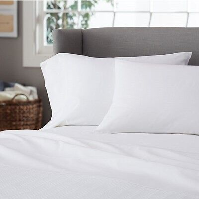 1 twin white hotel sheet set T250 series percale 1 flat 1 fitted 2 pillowcases