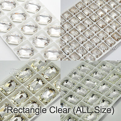Rectangle 4627 Clear Crystal Fancy Stone Metal Setting Sew On Rhinestones (Metal Beaded Beads Setting Crystal)