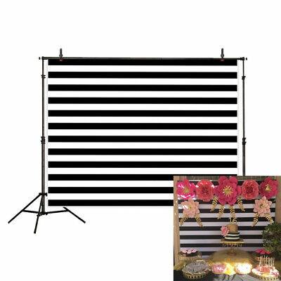 background black white stripes Custom name date simple birthday backdrop 7X5FT](Black And White Striped Backdrop)