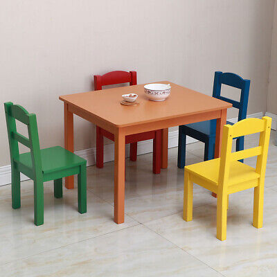 Study Small Table and Chair Set Generic 4 Piece Wood Toddler Kids Furniture US ()