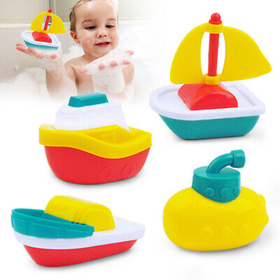 4PACK BABY TOYS FLOATING BOATS PLASTIC BATH TUB PLAYSET BATHING POOL TOYS FLEET