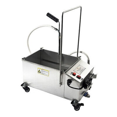 Used 40l 10.56 Gallon Mobile Fryer Filter Commercial Oil Filtration System 300w