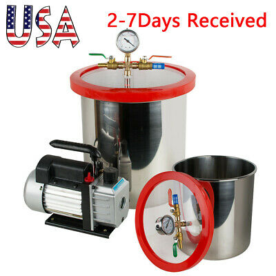 5gallon Vacuum Chamber Degassing Silicone3cfm Single Stage Pump W Hose Durable