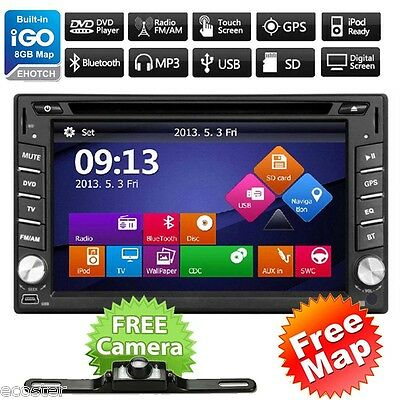 $129.98 - GPS Navigation HD Double 2 DIN Car Stereo DVD Player Bluetooth Radio MP3 In Dash
