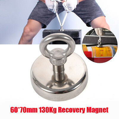 130kg D60mm Neodymium Recovery Magnet Metal Detector Claw Hook Strong Magnetic
