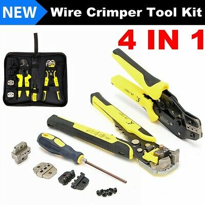 4 In1 Auto Wire Stripper Crimper Pliers Ratcheting Terminal Crimping Tool Kit Us