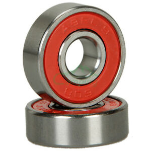 NEW 8pcs  SKATE SKATEBOARD BEARINGS ABEC-9  608-2RS Red