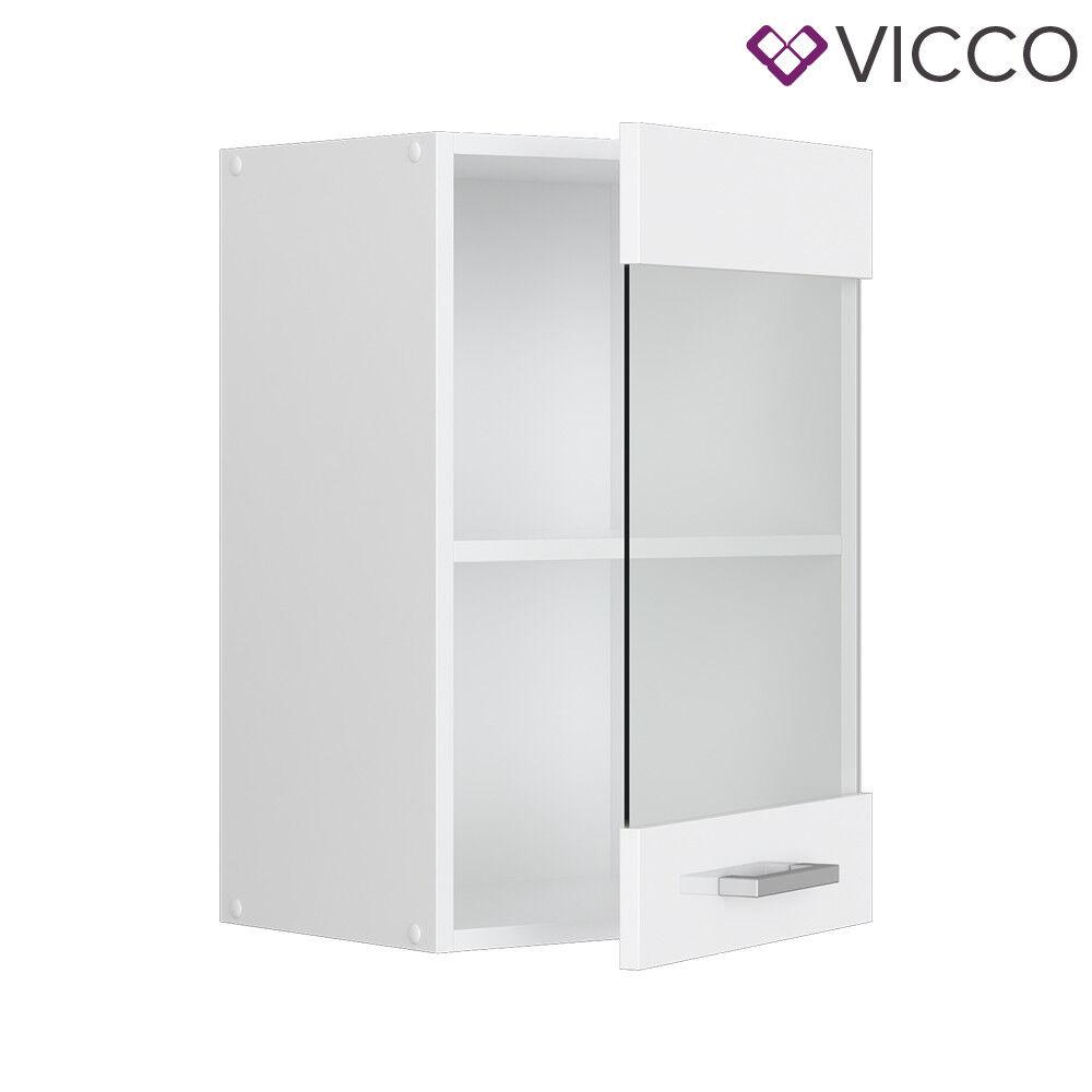 VICCO Küchenschrank Hängeschrank Unterschrank Küchenzeile R-Line Hängeglasschrank 40 cm weiß
