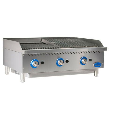Globe Gcb36g-rk Char Rock Countertop Cast Iron Radiant Charbroiler