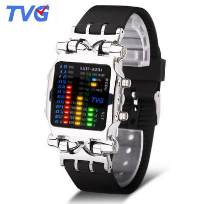 Creative Men Boys Watches Outdoor Sports Silicone Strap Led Digital Watch Tvg