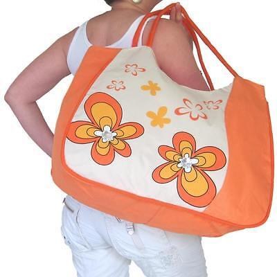 BEACH BAG Large Orange,Flowers,Huge,Tote,Hand,Big,Ladies,Womens,Girls ()
