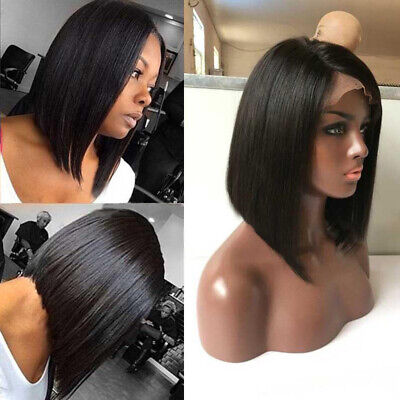 Cheap Womens Wigs (Remy Indian Human Hair Lace Front Wig Short Straight Bob Full Cheap Wigs 8'')