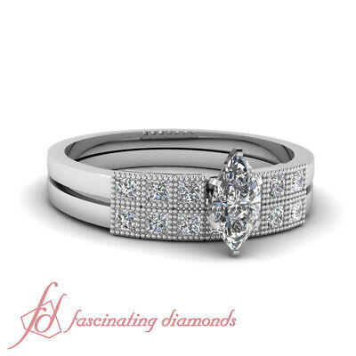 .85 Ct Marquise Cut Diamond Milgrain Grid Wedding Rings Set 14K SI2-D Color GIA