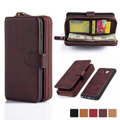Genuine Leather Wallet Case Cover Zipper Card For Samsung Galaxy S7 Edge/Note