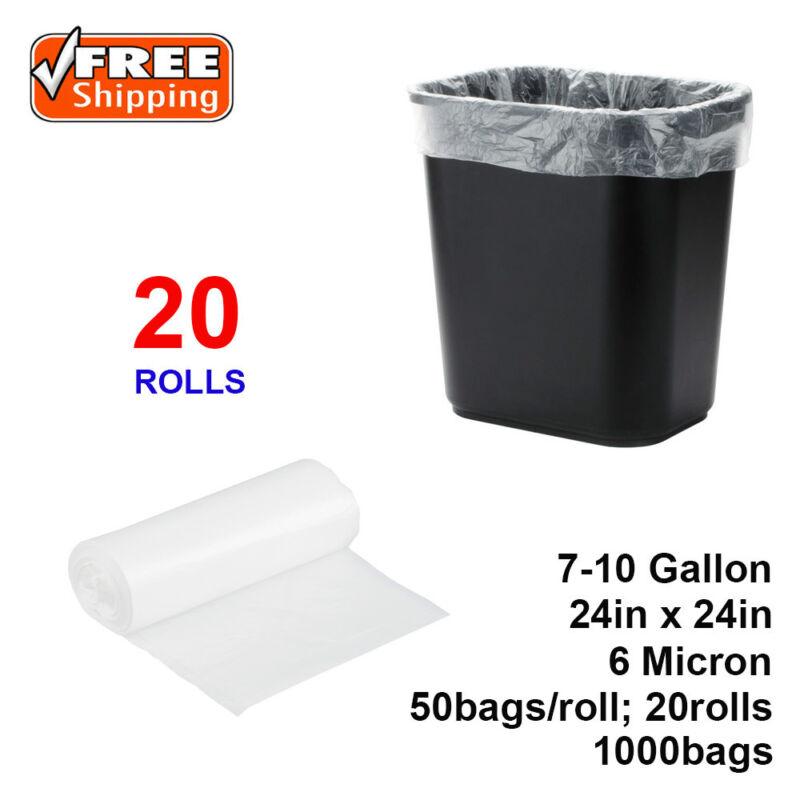 "SunnyCare® 7-10 Gallon 6 Micron 24"" x 24"" High Density Can Liner/ Trash Bag 1000"