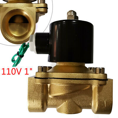 1 Inch Brass Electric Solenoid Valve Semi-direct Acting Water Air Gas Fuel Npt